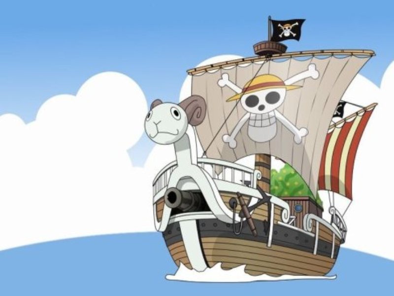 """路飞的草帽海贼团的第一艘海盗船是""""黄金梅丽号"""",船头是一个羊头造型"""